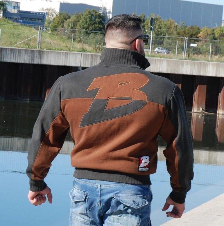 Brachial Zip Sweater Braun Bodybuilding braun Anthracite