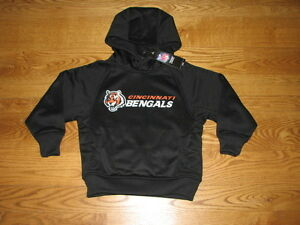 7f86cb7c843 Image is loading NEW-Boys-CINCINNATI-BENGALS-PERFORMANCE-Fleece-Hoody-Size-