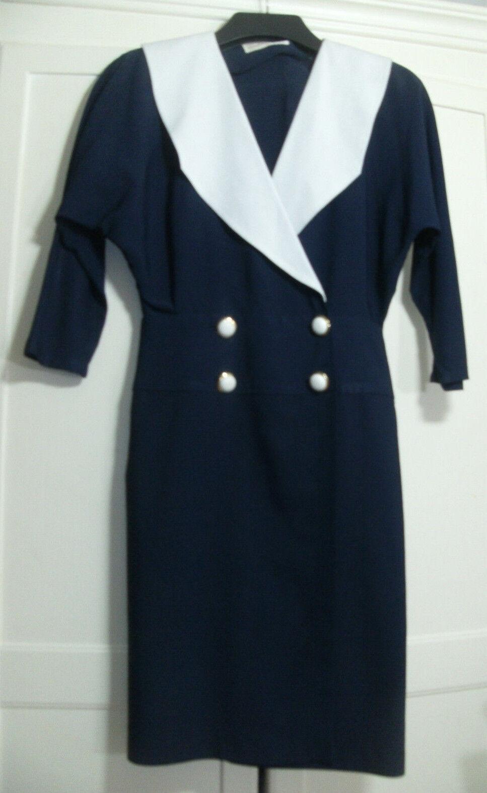Vintage 1980s Dgoldthy Perkins Navy & White Sailor Shoulder Pad Dress Size 8