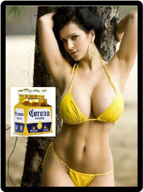 Corona Beer Sexy Babe In Yellow Bikini Refrigerator Magnet