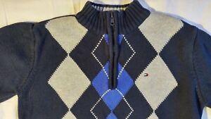 Tommy-Hilfiger-Long-Sleeve-Blue-Argyle-Quarter-Zip-Sweater-Size-M-12-14