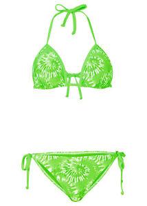 große Auswahl viele Stile Premium-Auswahl Details zu Rainbow Damen Triangel-Bikini Badeanzug Neckholder Push Up  Bademode grün 929795