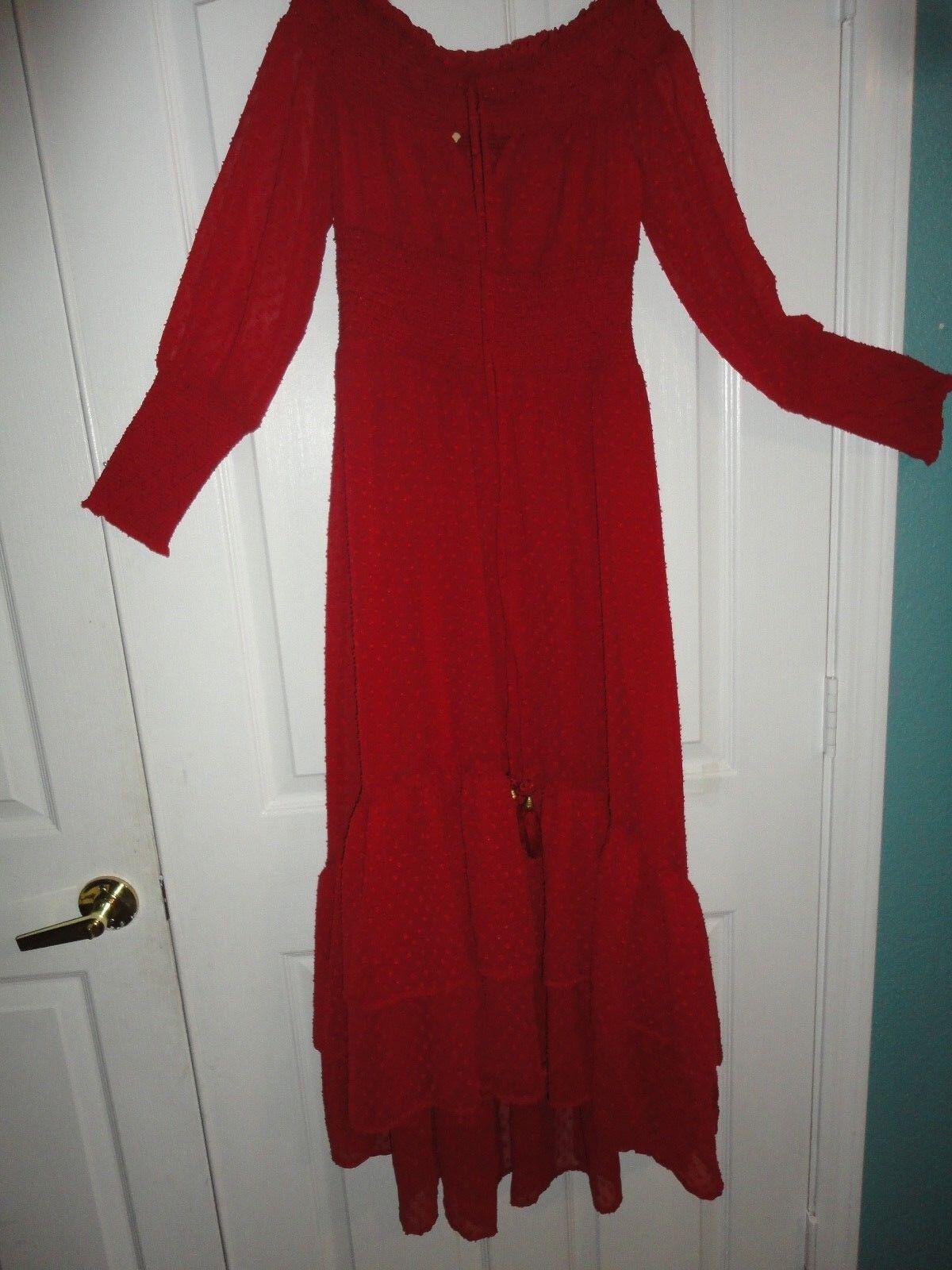 ANTHROPOLOGIE DILLARDS CHELSEA & lila MULBERRY rot SWISS DOTS Größe XS DRESS