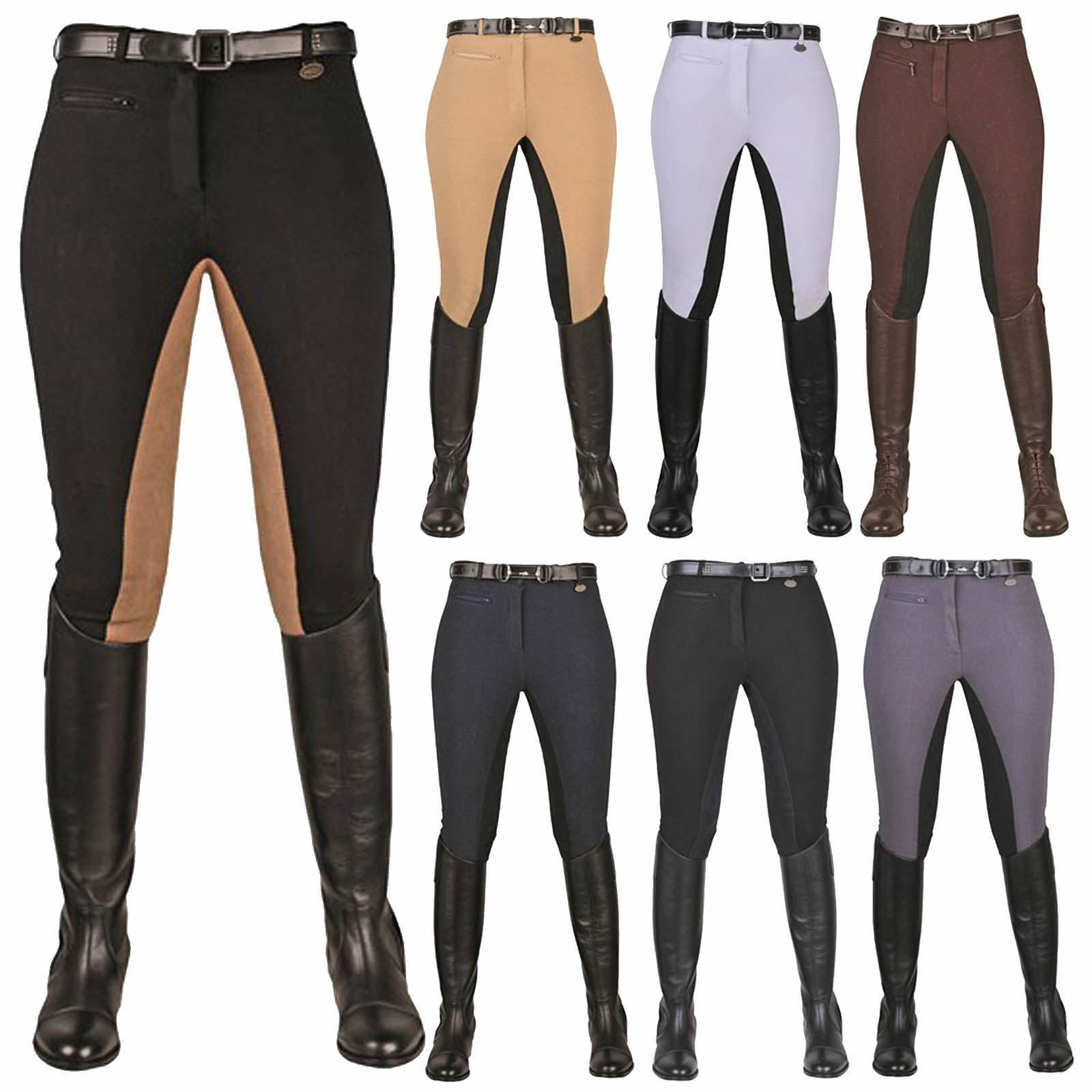 HKM Equestrian Ladies Junior Stretchy 3 4 Suede Imitation Seat Riding Breeches