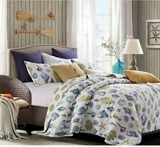 COASTAL DREAMS QUILT & SHAMS SET FULL/QUEEN SIZE  SEA SHELL BEACH HOUSE BEDDING