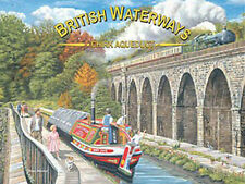 British Waterways Chirk Aquaduct, Canal Barge, Steam Train, Small Metal/Tin Sign