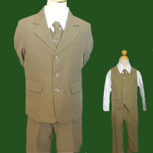 0 4 12 14 16 20 Infant /&  Boy Wedding Formal Party Tuxedo suit Khiki Taupe size