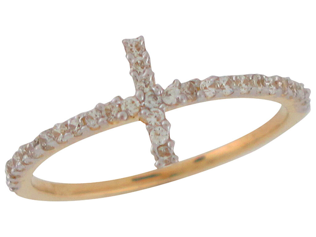 10k or 14k Two-Tone Religious Cross Ring with Brilliant White CZ Gems