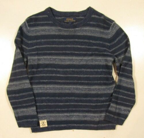 Polo Ralph Lauren Boys Denim Blue Stripe Linen Blend Long Sleeve Sweater