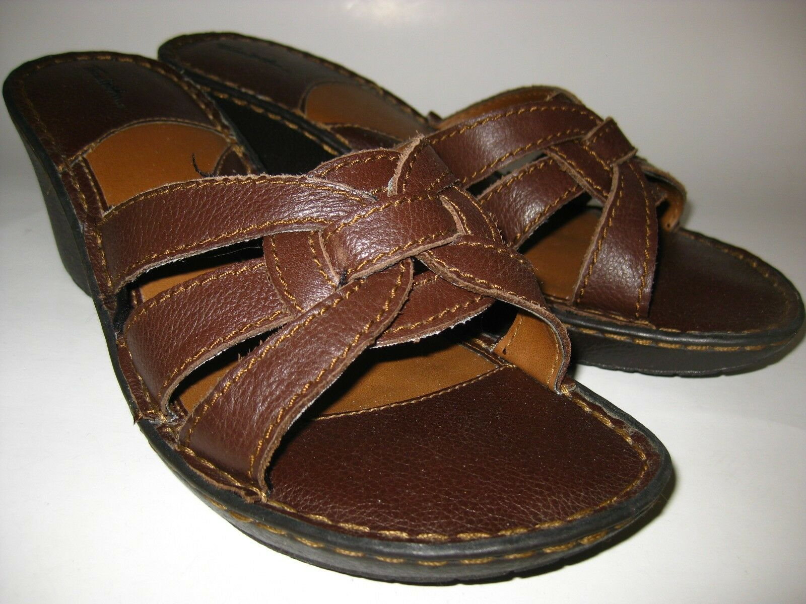 Thom McAn Barri US Brown Leather Slide Wedge Sandals (Womens US Barri 9) 795252303350 db08c5