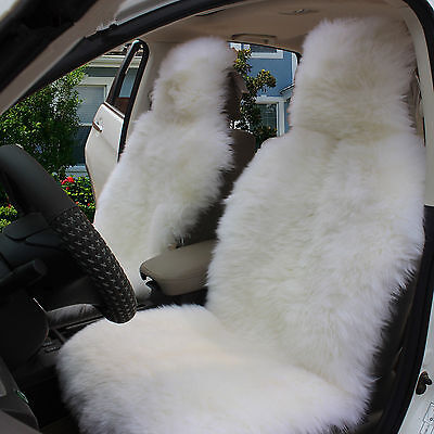 1pc Genuine White Pelt Sheepskin Long Fur Car Seat Cover One Size Fits Most Cars