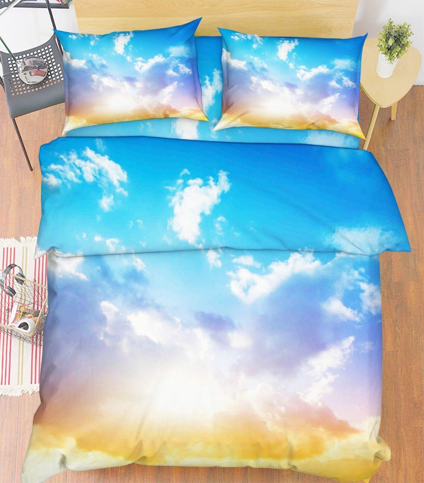 3D Sunshine Sky 683 Bed Pillowcases Quilt Duvet Cover Set Single King UK Lemon