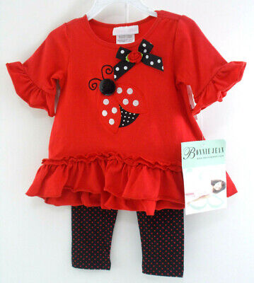 24M BABY JEAN NEW with TAGS Bonnie Jean LADY BUG 2 Piece GIRLS Red OUTFIT  12M