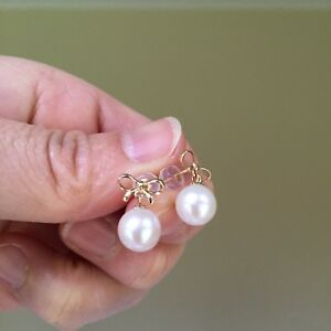 18K-Gold-7-5mmFreshwater-pearl-100-Natural-White-Bow-earring-stud-AAA-Luster