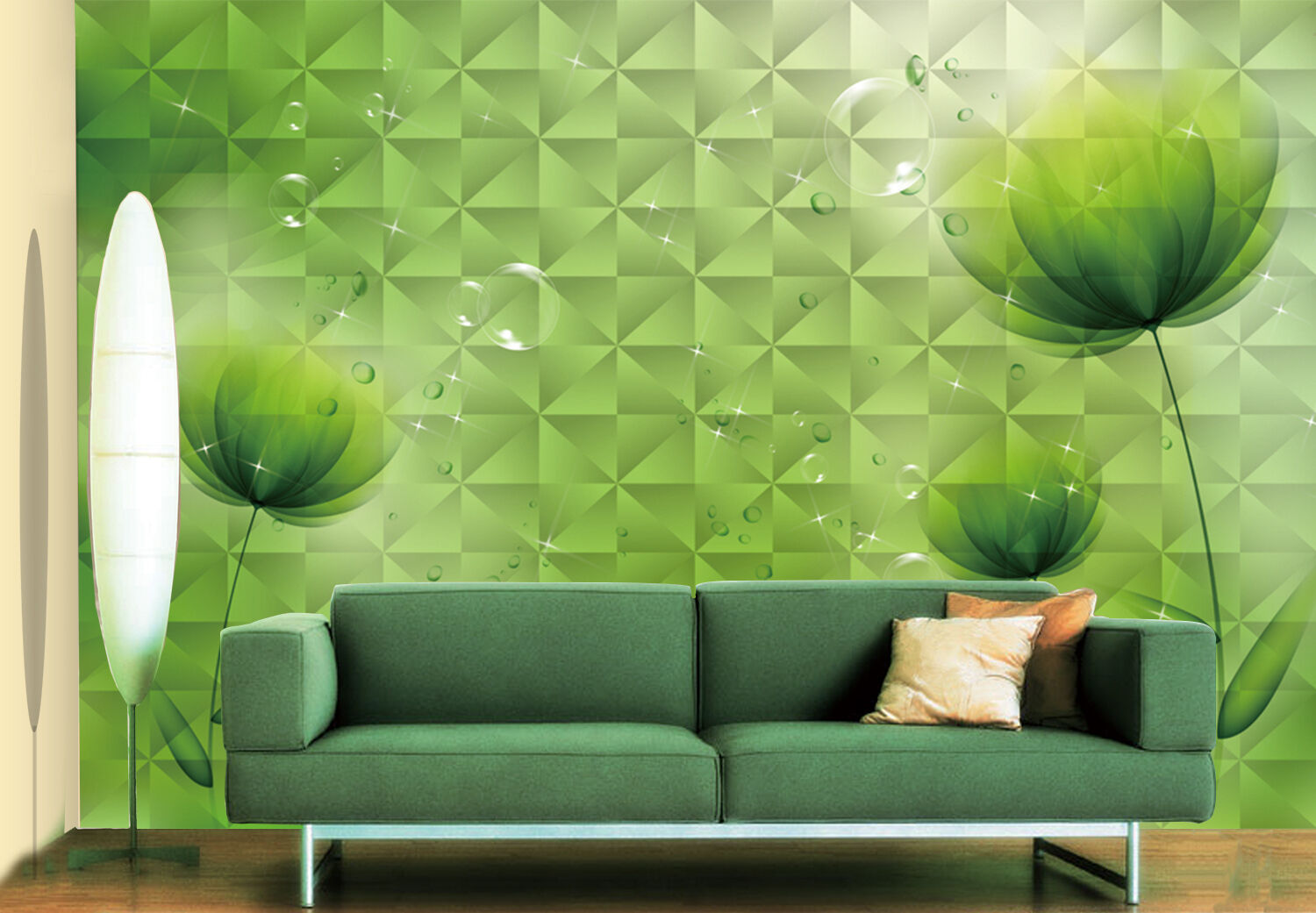 3D Grün flowers 3467 Wall Paper Print Wall Decal Deco Indoor Wall Murals