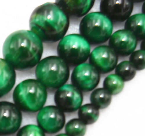 """6mm-12mm natural gemstone GREEN TIGER/'S EYE Round Loose Beads 15 /""""AAA"""