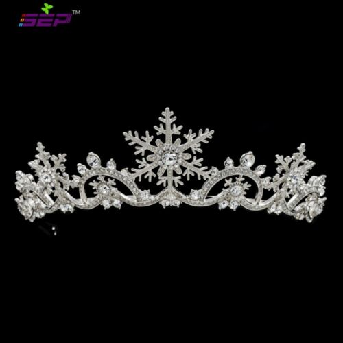 Real Austrian Crystal Bridal Wedding Snowflake Crown Tiara Hair Jewelry SHA8756
