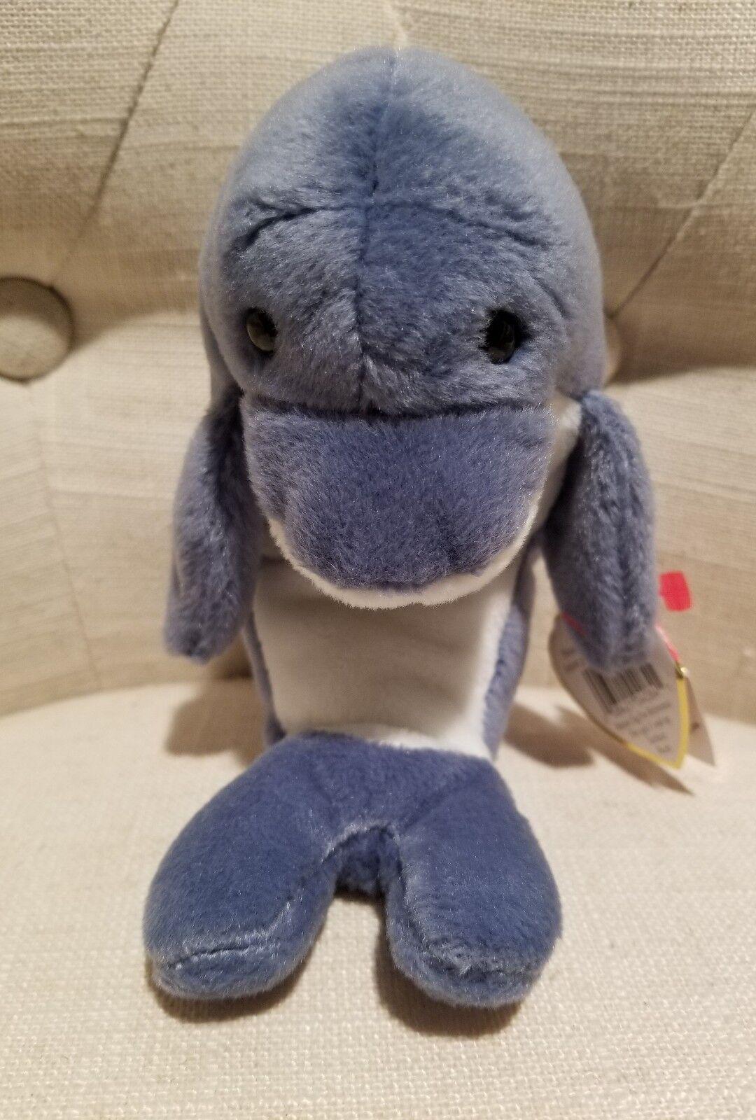 Ty beanie babies  echo  dolphin  wellen  der wal auf alle tags selten