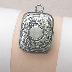Antique-Victorian-800-Silver-Enamel-Etched-Book-Shape-Locket-Pendant