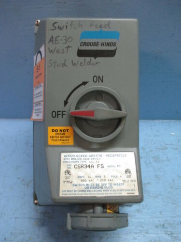 Crouse-Hinds CSR34A-FS Interlocked Arktite Receptacle 30 Amp 600V 3 Wire 4 Pole