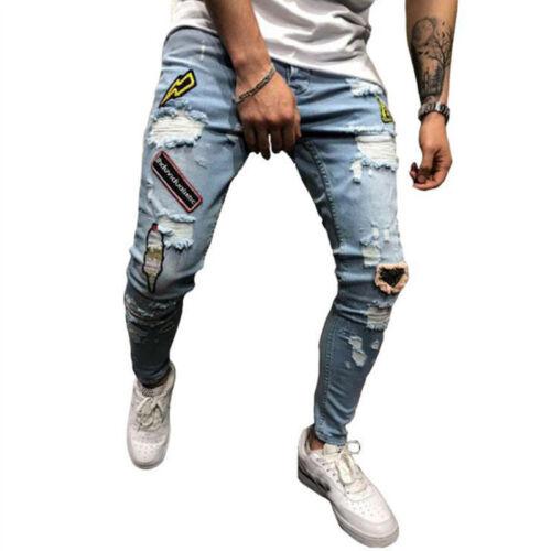 Mens Jeans Pants Skinny Ripped Frayed Destroyed Slim Jogger Denim Trouser Slim