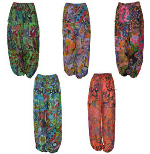 TALLA-GRANDE-Hippie-Boho-Retro-Floral-Patchwork-haren-pantalones-18-TO-24
