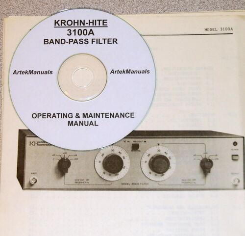 Operating /& Maintenance Manual Krohn-Hite 3100A Band-Pass Filter