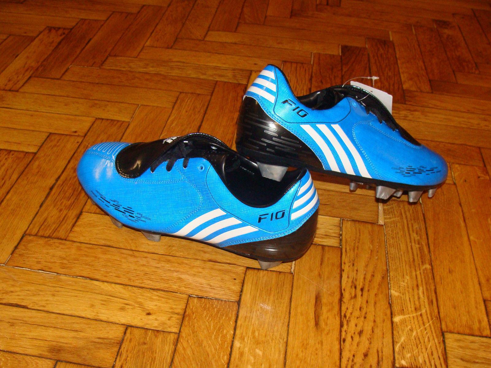 Adidas F10 Soccer stivali F 10 Football Soft Ground scarpe blu NEW
