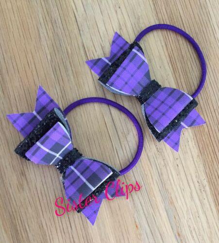 "Back to school 2 purple tartan gingham /& black glitter 3/"" Hair Bow bobbles"