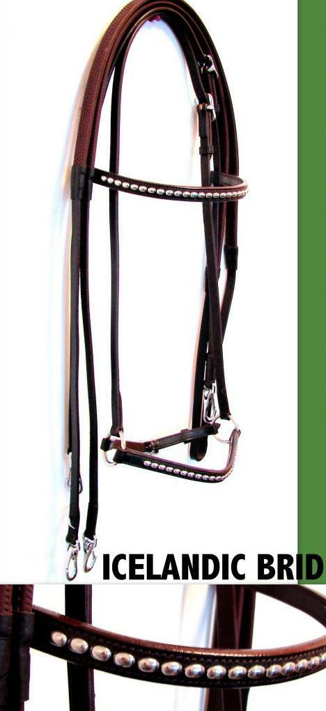 Premium Leather Studded Brown ENGLISH ICELANDIC HORSE BRIDLE Rubber REINS CloseO
