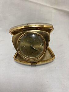 Westclox-Travel-Alarm-Clock-Miniature-Folding-7-Jewel-Mini-Wind-Up-Ivory-Vintage