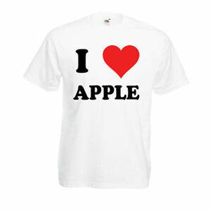 Détails sur Personnalisé je Love apple t shirt homme femme drôle cadeau de nouveauté top afficher le titre d'origine