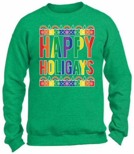 Happy Holigays Christmas Sweatshirt Christmas Sweater Gay Pride Rainbow Xmas