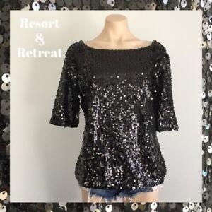 Black-Sequin-Evening-Top-Glamorous-Elegant-Size-10-1-2-Sleeve