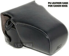 leather Case BLACK FOR CANON T3i 600D SEMI HARD CASE EH19-L lens w 18-55mm 50mm
