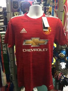 Adidas Manchester United Home 20-21 Red White Jersey Size L Men's Only