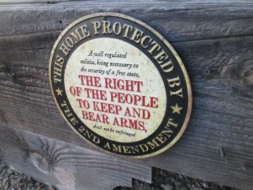 NRA 2ND AMENDMENT THIS HOME PROTECTED EMBOSSED RAISED  METAL SIGN Remington Gun