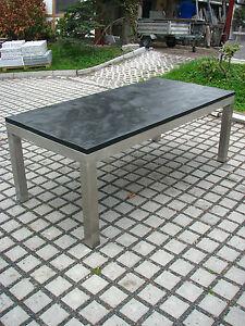 Gartentisch Outdoor Tisch Esstisch Mit Schieferplatte Schwarz