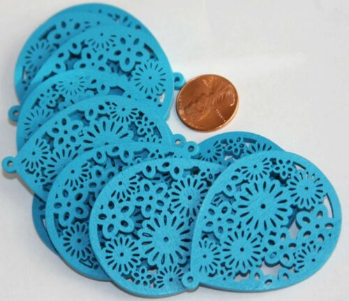 10 Carved Wood teardrop Pendant with flower pattern 51x39x3mm  Turquoise Blue