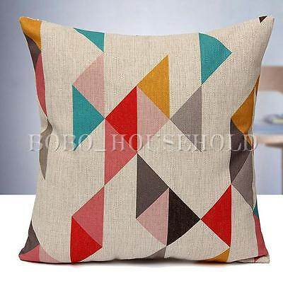 Vintage Home Decor Cotton Linen Pillow Case Sofa Waist Throw Cushion Cover