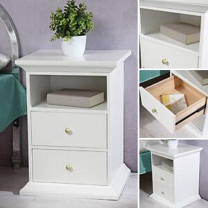 Das Bild Wird Geladen Nachttisch Schrank Beistelltisch Schlafzimmer Weiss  Lackiert Landhausstil Modern