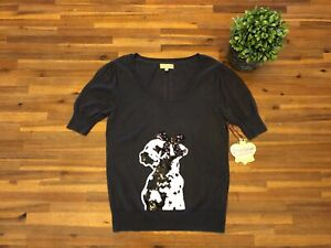 new-PRINCESS-VERA-WANG-Gray-Pointelle-Short-Sleeve-Sweater-Sequin-Dog-SIZE-L