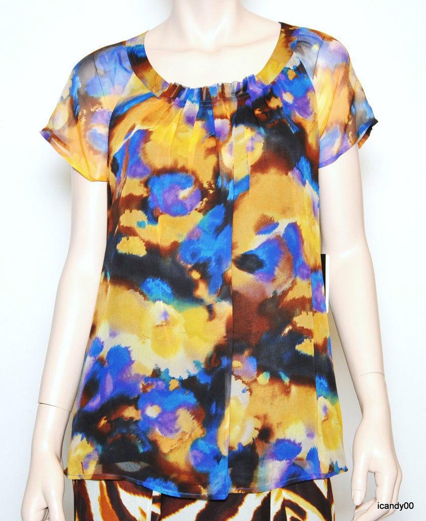 Nwt Jones New York SURABAYA Silk Blouse Top Tunic Shirt Lined Lapis Multi 12