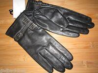 Etienne Aigner Ladies Xl Gloves Leather Black Silvertone Buckle