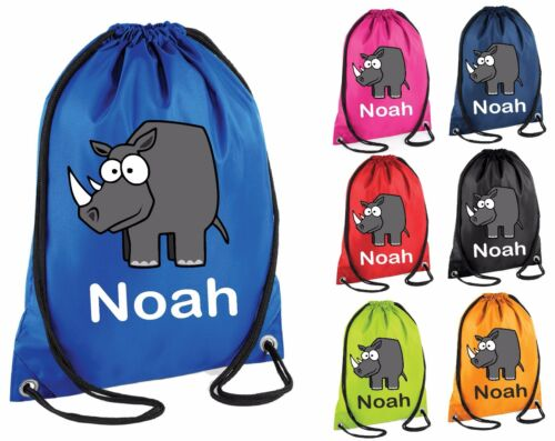 Personalised Rhino Gym Bag Swim Nursery Drawstring School PE Kit Sports Kids