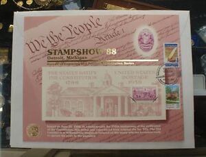 BEP-souvenir-card-B-118-Stampshow-1988-block-1938-3c-Constitution-visitor-cancel