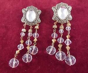 Vintage-Long-Gold-Tone-Faux-Crystal-Dangle-Drop-Chandelier-Pierced-Earrings