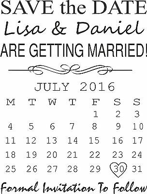 PERSONALISED SAVE THE DATE RUBBER STAMP WEDDING ENGAGEMENT CELEBRATION (11627)