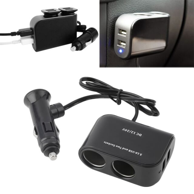 In-car PDA Power Supply 2 USB Ports & 2 Sockets Splitter 12V/24V Car Charger Na