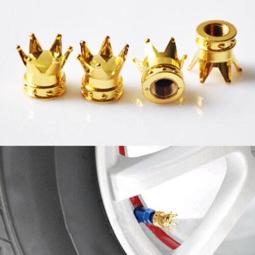 4x Gold Crown Car Truck Tire Air Valve Stem Cover Caps Wheel Rims Unique Hot New